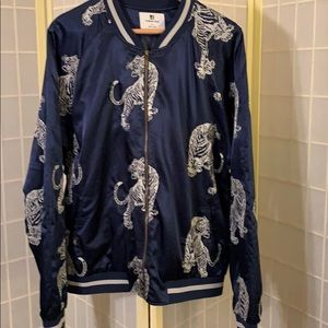 Men's Standard Issue navy satin tiger bomber - XL